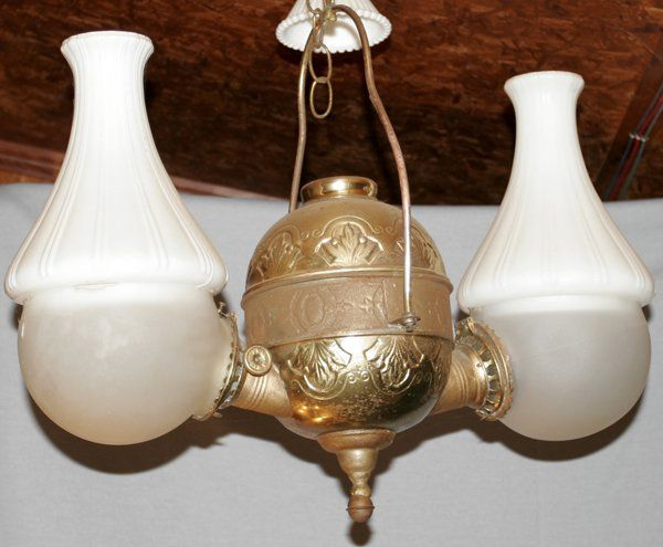 VICTORIAN BRASS & GLASS HANGING OIL LAMP