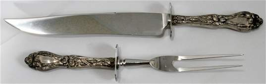 071364: FRANK M. WHITING 'LILY' CARVING FORK & KNIFE