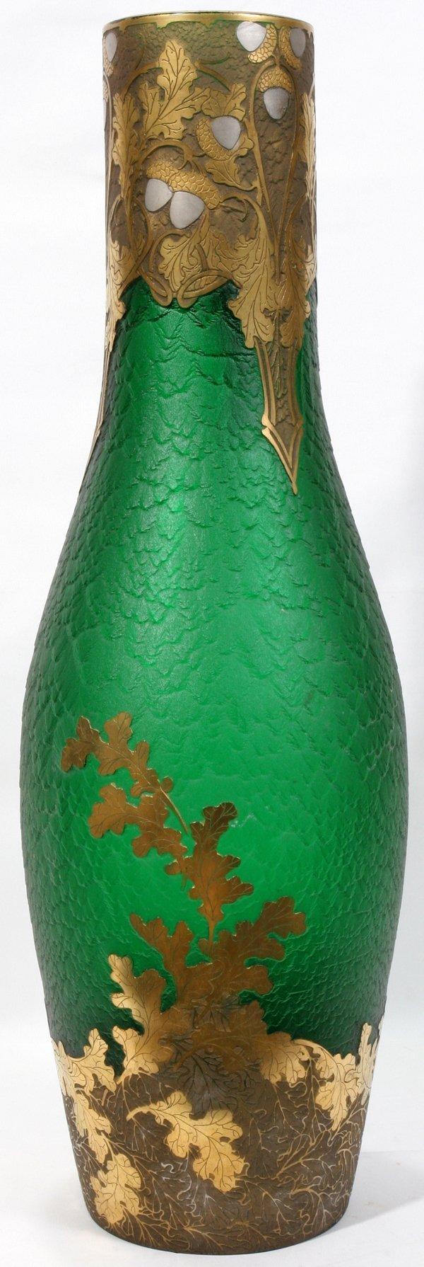 072011: LEGRAS ART NOUVEAU ACID CUT GREEN GLASS VASE
