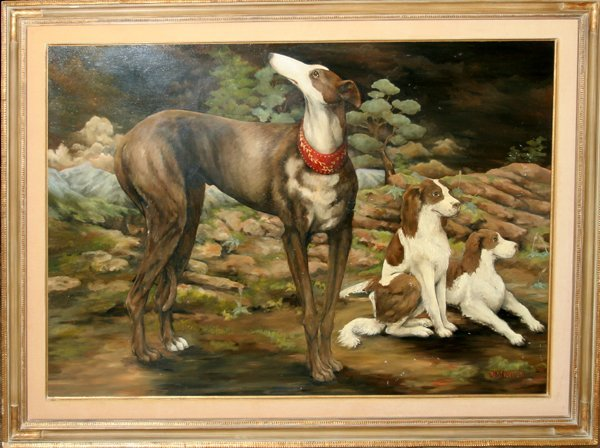 072019: JOANNE WESTWATER OIL ON CANVAS, THREE DOGS