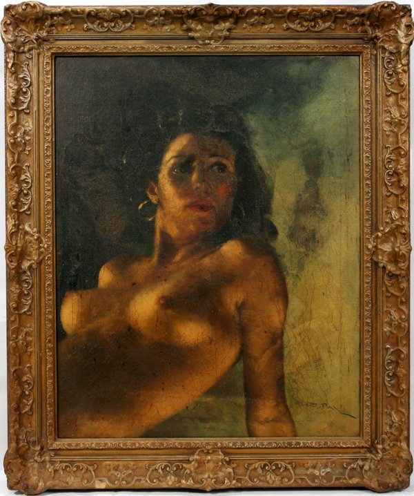 072056: PAL FRIED OIL ON CANVAS, BUST OF FEMALE NUDE