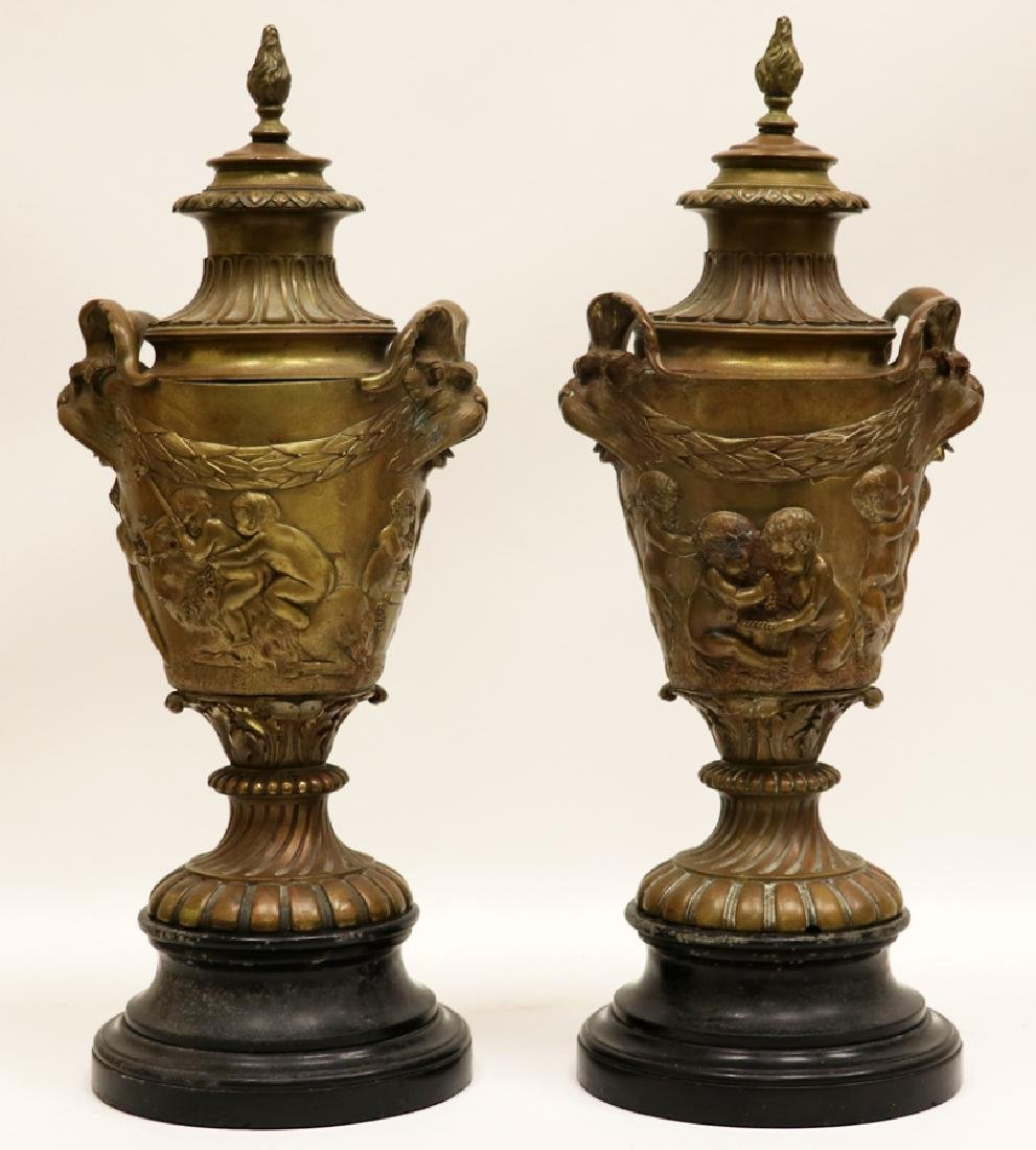 NEO-CLASSICAL GILT BRONZE URNS, C19TH C, PAIR