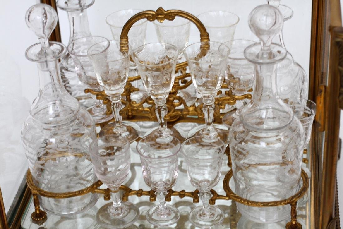 GLASS & BRONZE TANTALUS SET, 21 PCS - 3
