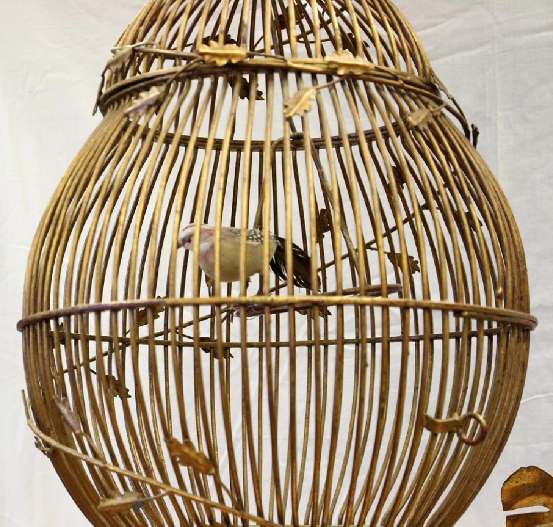 ANTIQUE PATINATED WROUGHT IRON BIRD CAGE AND STAND - 2