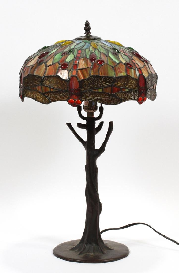 TIFFANY STYLE LEADED GLASS & PATINATED METAL LAMP