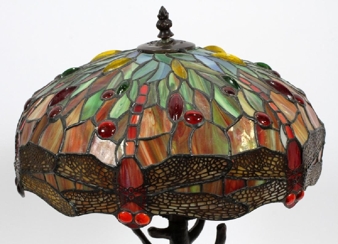 TIFFANY STYLE LEADED GLASS & PATINATED METAL LAMP - 2