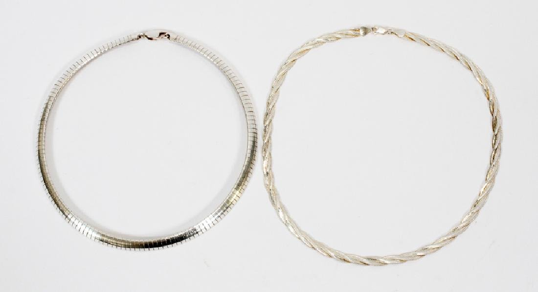 STERLING SILVER CHOKER NECKLACES, TWO