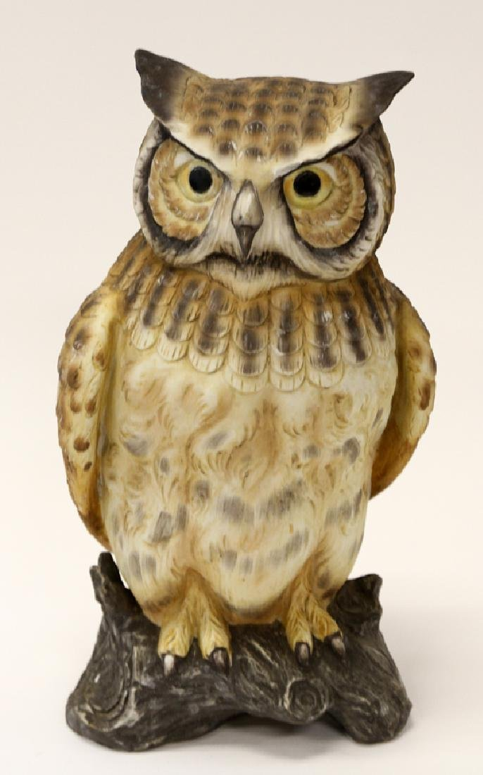 EUROPEAN PORCELAIN OWL SCULPTURE