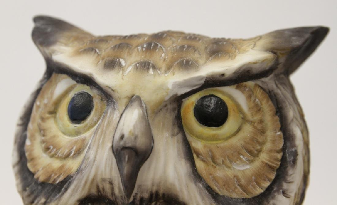 EUROPEAN PORCELAIN OWL SCULPTURE - 3