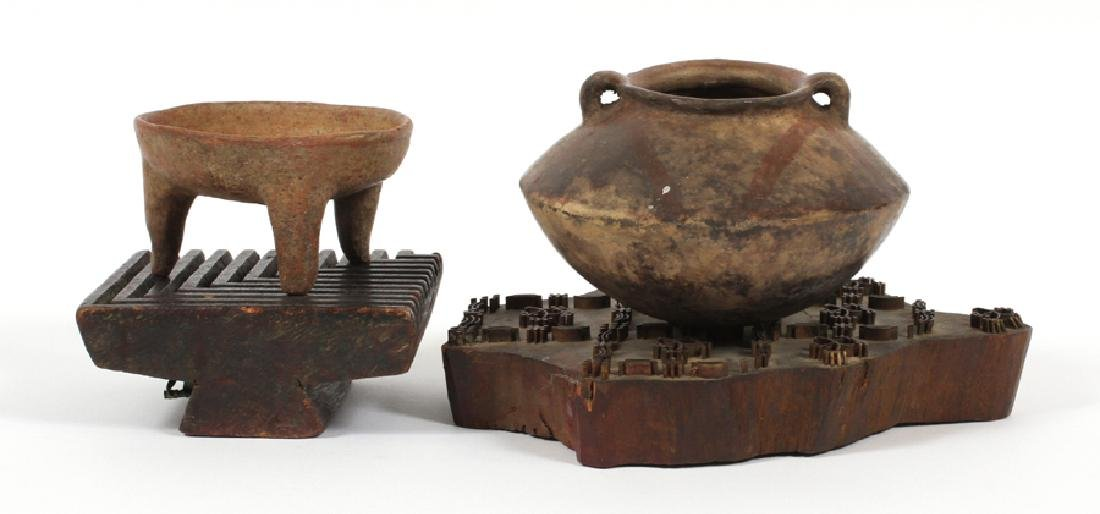 DING VESSEL AND ANCIENT POTTERY PIECE