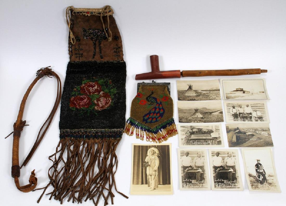 NATIVE AMERICAN RAWHIDE CLOTHING, PIPE ECT.