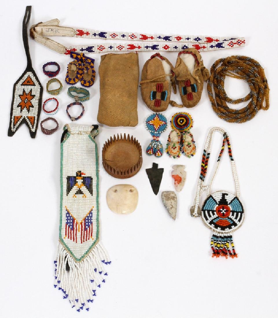 NATIVE AMERICAN BEADED RAWHIDE CLOTHING, ECT.