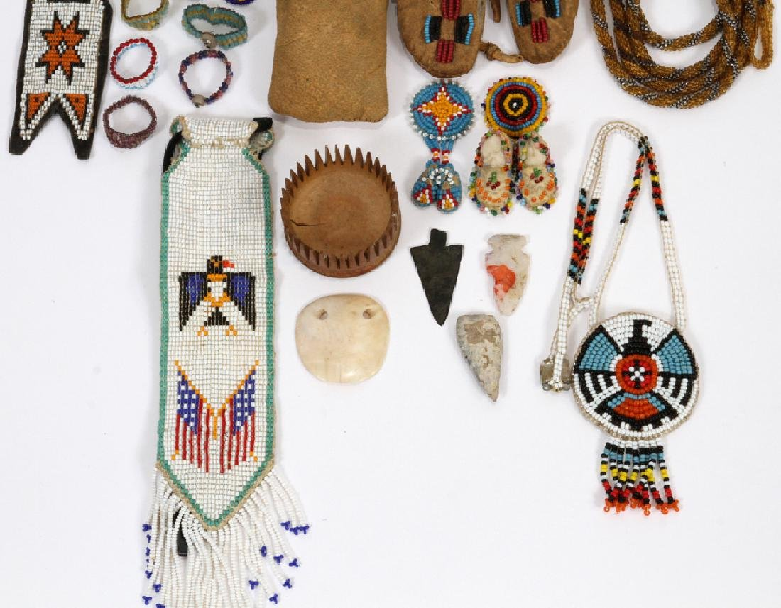 NATIVE AMERICAN BEADED RAWHIDE CLOTHING, ECT. - 3