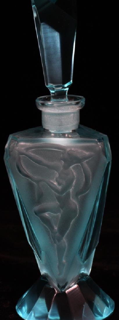 "GLASS PERFUME BOTTLE, H 6 1/2"", DIA 2"" - 2"