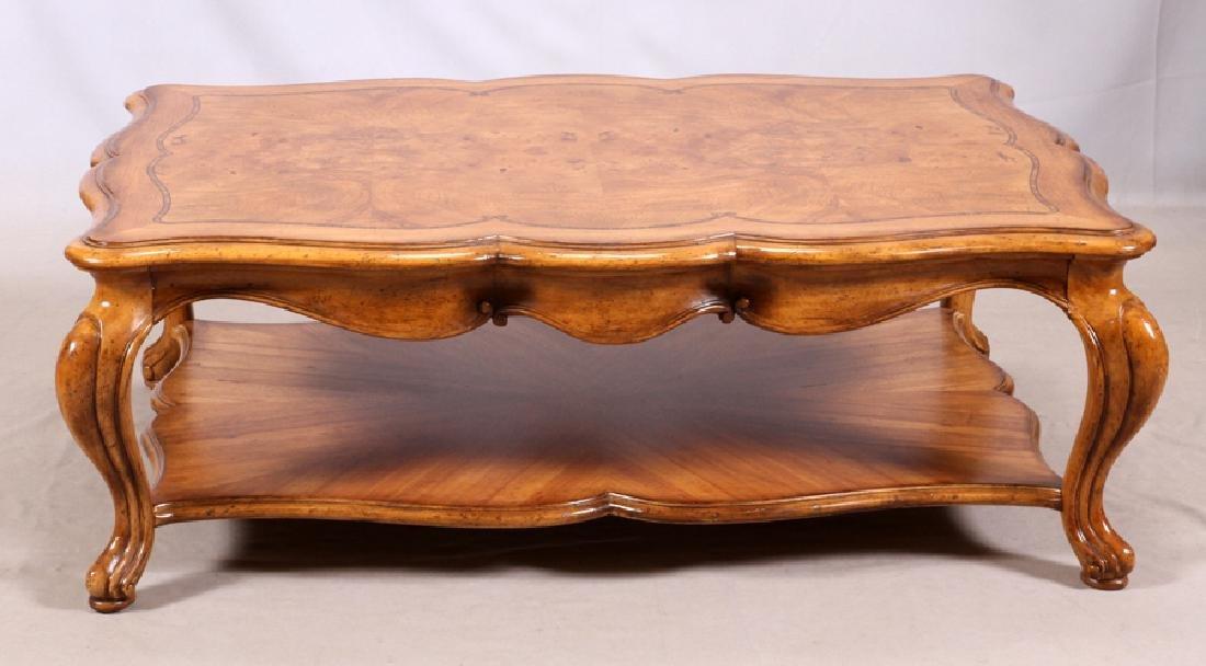 "BURLED WALNUT COCKTAIL TABLE, H 18"", W 34"", L 51"""