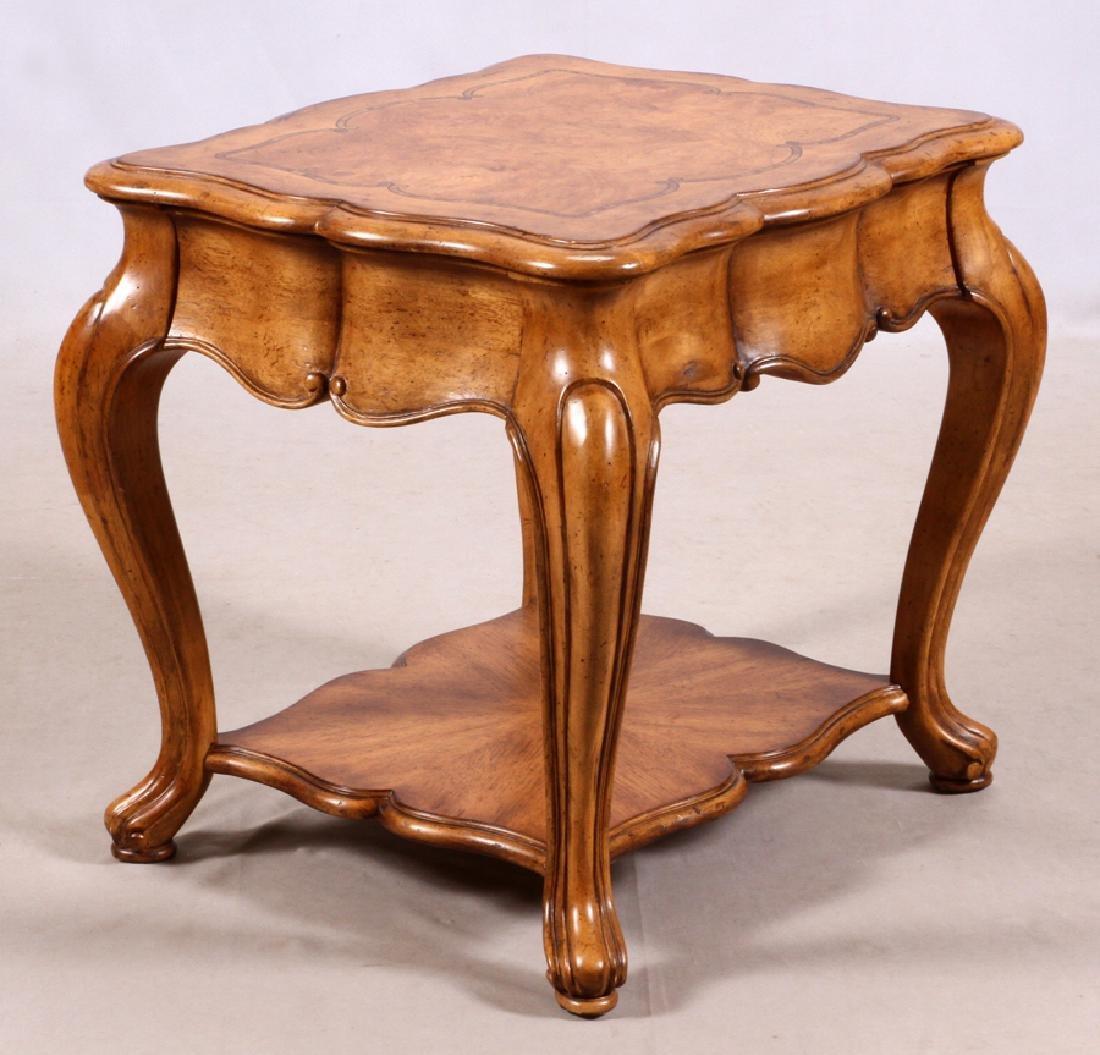 THOMASVILLE, BURLED WALNUT, SIDE TABLE