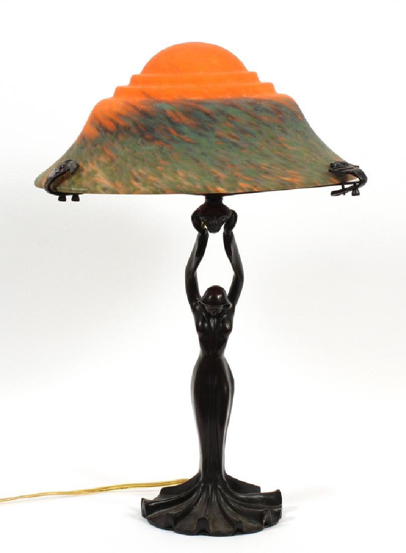 ART DECO STYLE GLASS AND PATINATED METAL LAMP