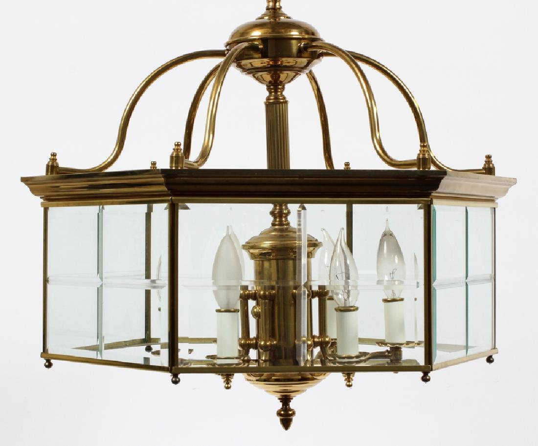 SIX-LIGHT BRASS AND GLASS CHANDELIER