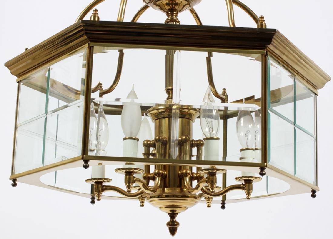 SIX-LIGHT BRASS AND GLASS CHANDELIER - 2