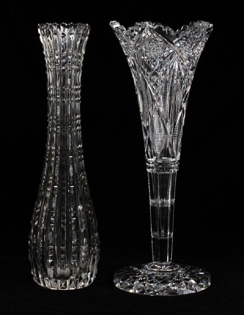 """HAWKES CUT GLASS VASES, C1900, 2 PCS, H 12"""", DIA 4 1/2"""""""