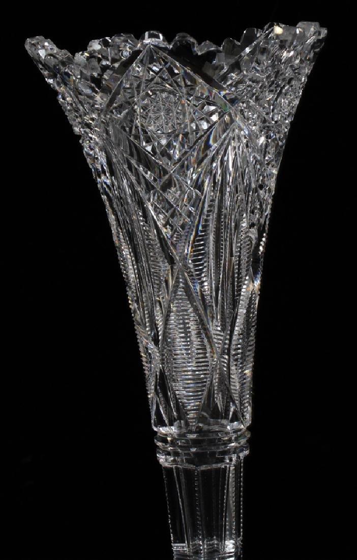 """HAWKES CUT GLASS VASES, C1900, 2 PCS, H 12"""", DIA 4 1/2"""" - 2"""