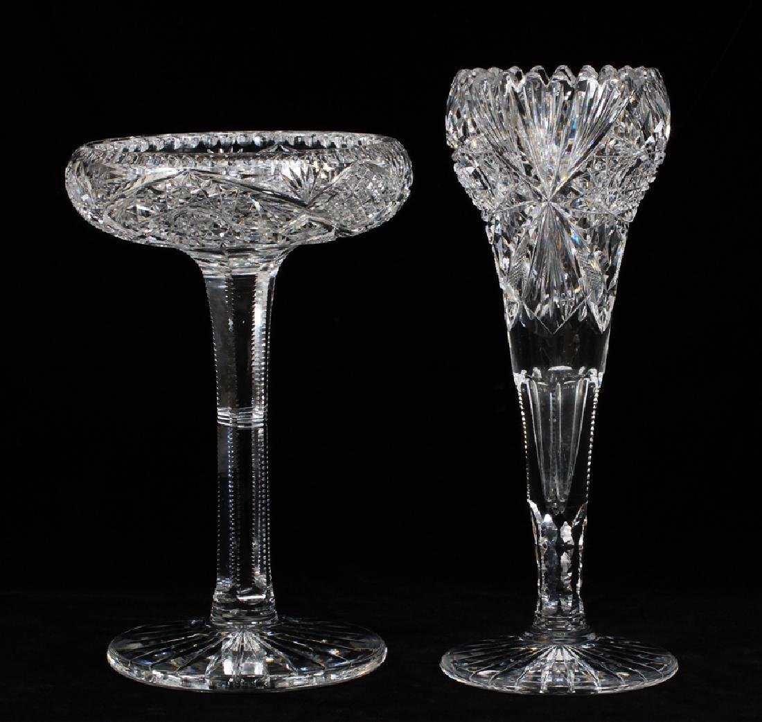 CUT GLASS VASE & COMPOTE, CA. 1900, 2 PCS