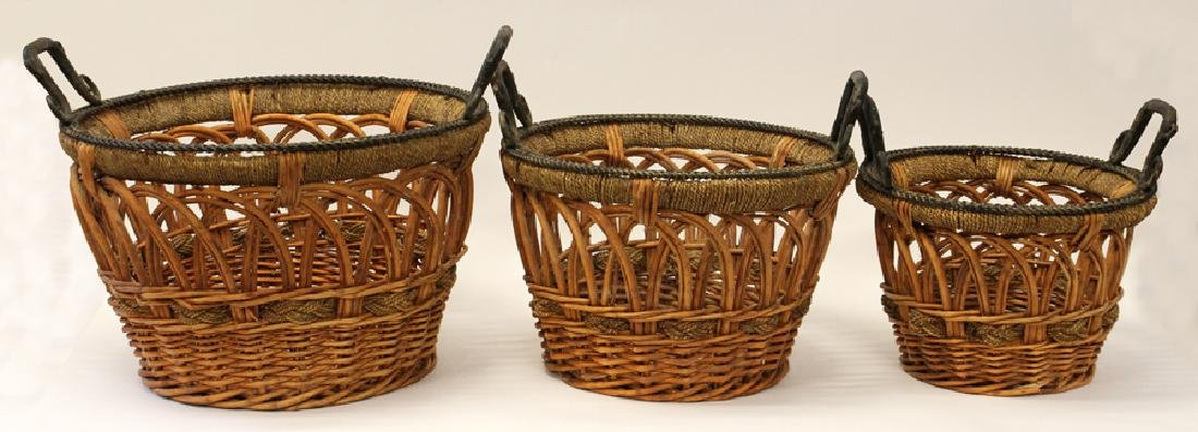 HAND WOVEN WICKER, ROPE AND WROUGHT IRON, BASKETS