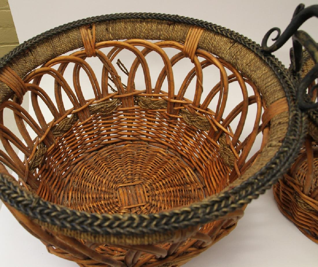 HAND WOVEN WICKER, ROPE AND WROUGHT IRON, BASKETS - 2