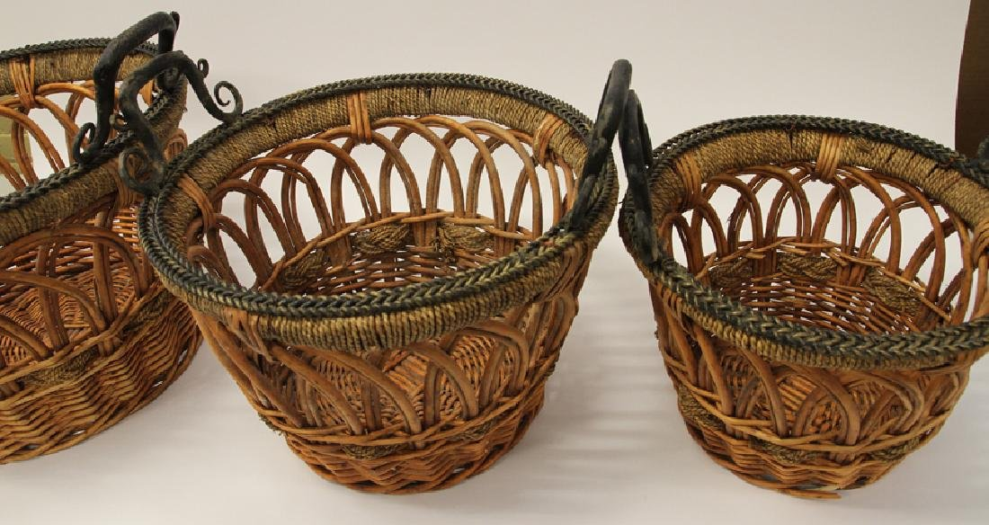 HAND WOVEN WICKER, ROPE AND WROUGHT IRON, BASKETS - 3