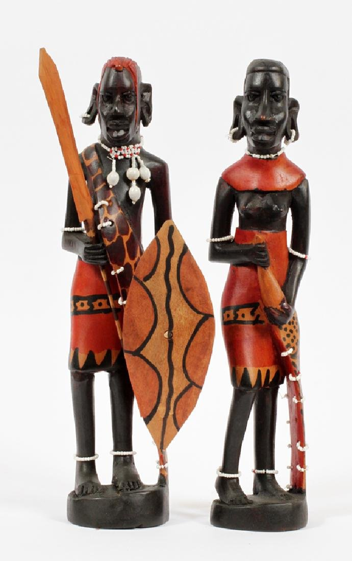AFRICAN CARVED EBONY WOOD FIGURES, PAIR, H 12""