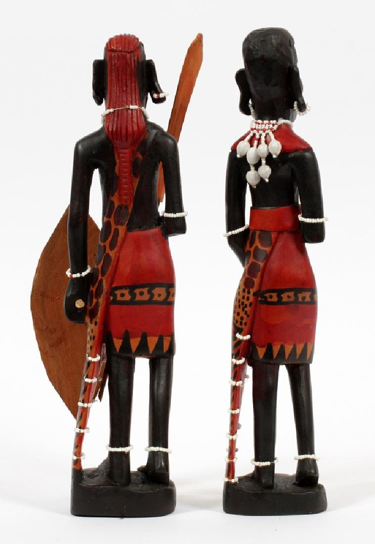 "AFRICAN CARVED EBONY WOOD FIGURES, PAIR, H 12"" - 2"