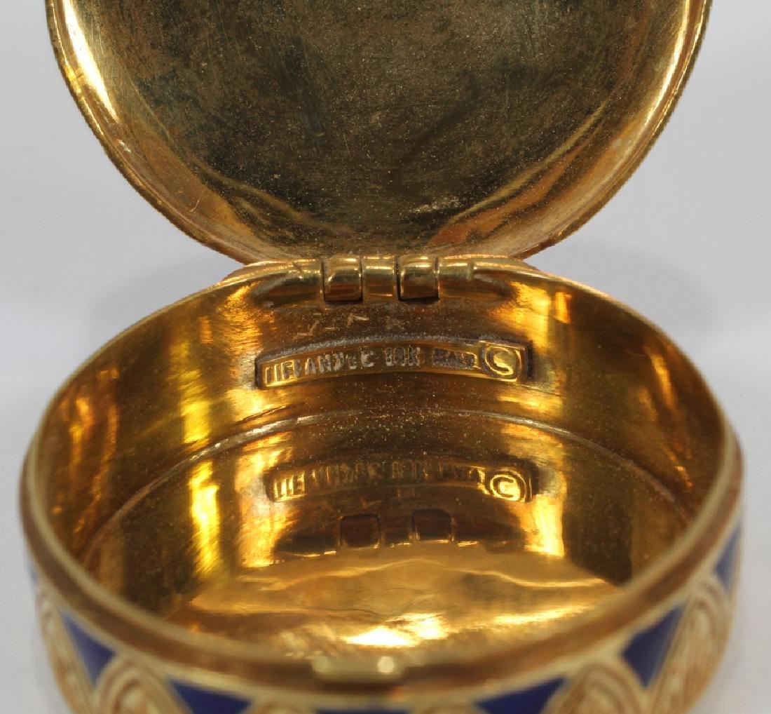 TIFFANY & CO. 18KT ITALY YELLOW GOLD & ENAMEL SNUFF BOX - 5