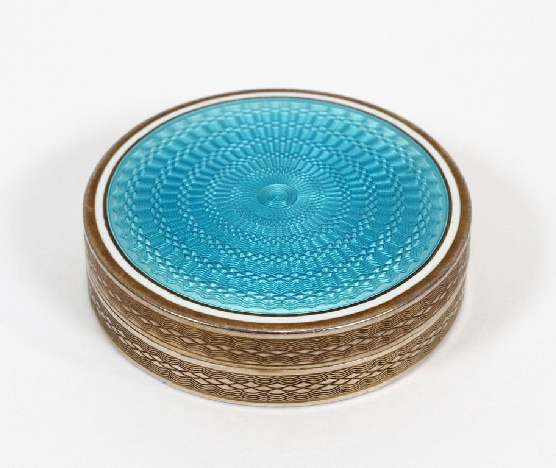 FRENCH  SILVER GUILLOCHE BLUE ENAMEL BOX