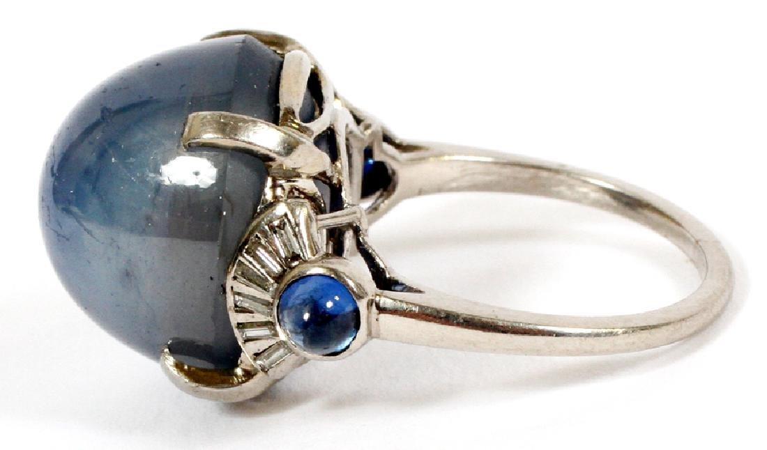 CABOCHON CUT STAR SAPPHIRE, DIAMOND &PLATINUM RING - 4