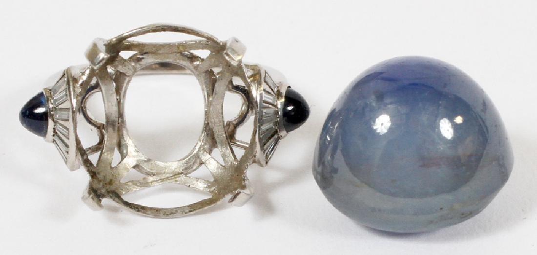 CABOCHON CUT STAR SAPPHIRE, DIAMOND &PLATINUM RING - 5
