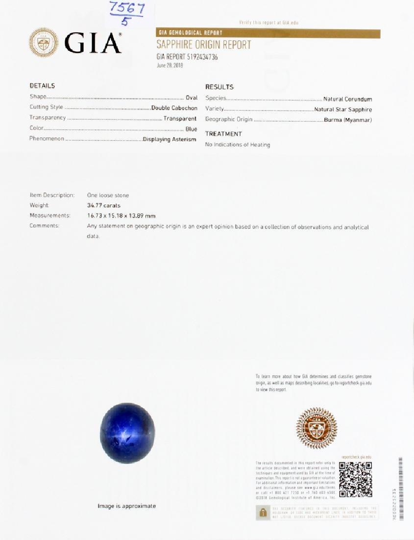 CABOCHON CUT STAR SAPPHIRE, DIAMOND &PLATINUM RING - 6