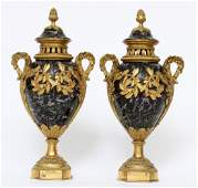 FRENCH BRONZE  MARBLE URNS 19TH C PAIR