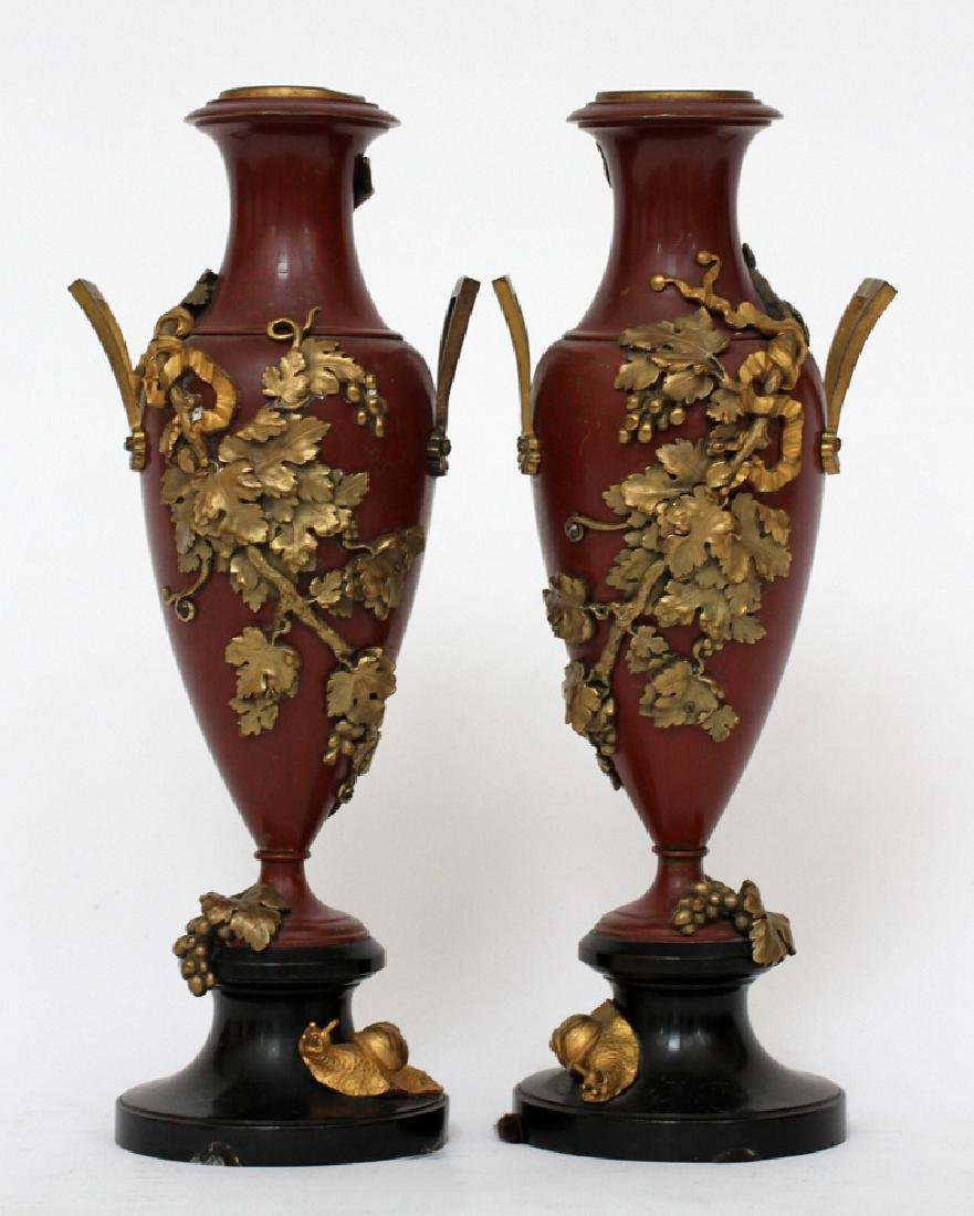"""FRENCH PATINATED BRONZE URNS, 19TH.C. PAIR, H 10"""""""