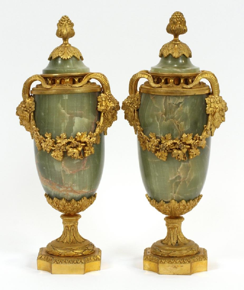 FRENCH ONYX AND BRONZE URNS CIRCA 1840 PAIR H 12""