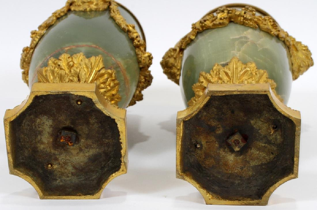 "FRENCH ONYX AND BRONZE URNS CIRCA 1840 PAIR H 12"" - 4"