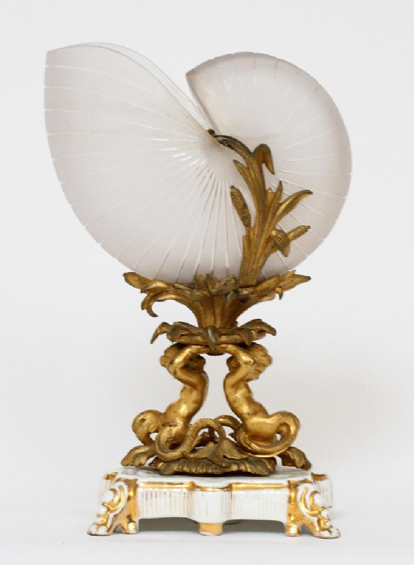 FROSTED GLASS NAUTILUS SHELL, BRONZE MOUNTS