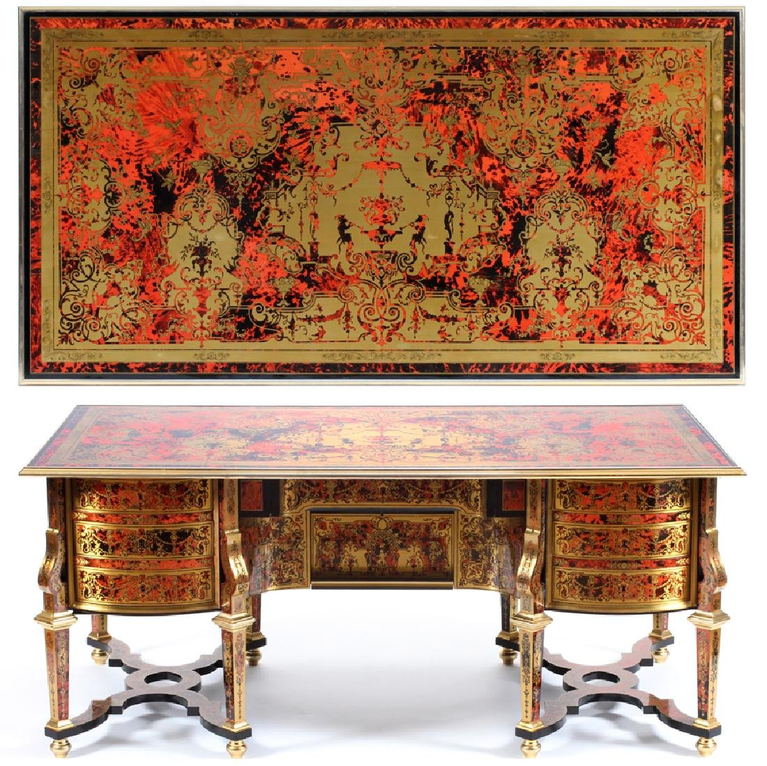BOULLE MARQUETRY BLACK LACQUER DESK