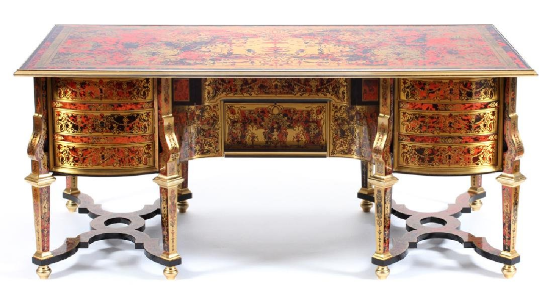 BOULLE MARQUETRY BLACK LACQUER DESK - 2