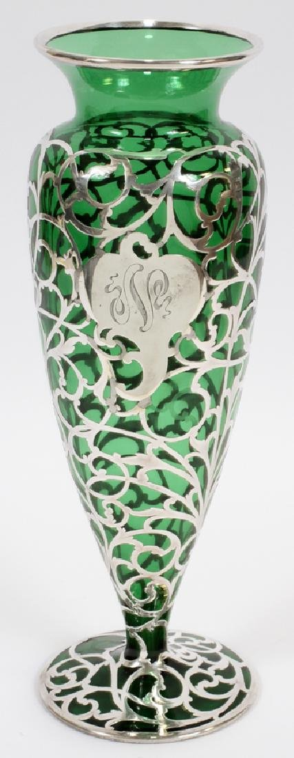 GREEN GLASS WITH STERLING OVERLAY VASE, C. 1900