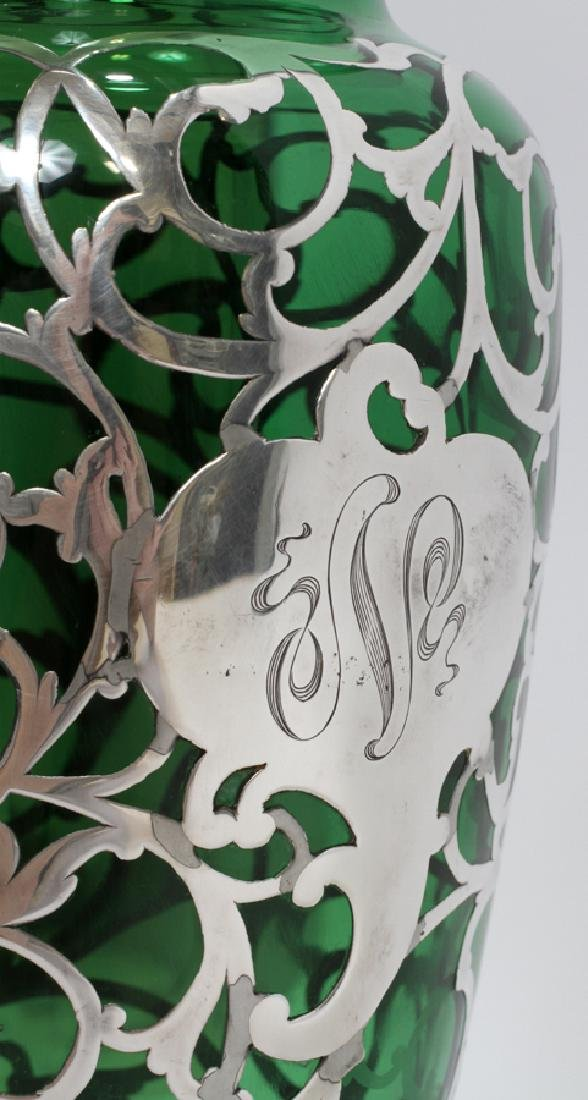GREEN GLASS WITH STERLING OVERLAY VASE, C. 1900 - 2