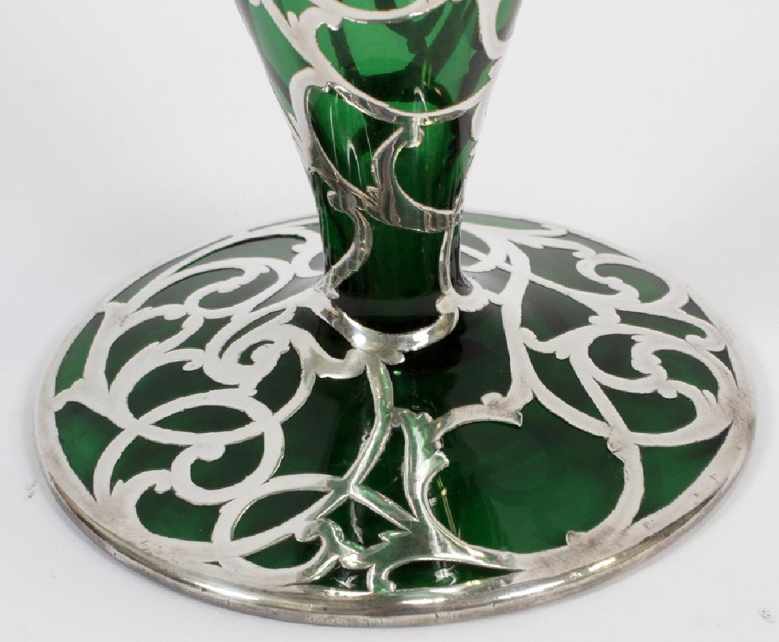 GREEN GLASS WITH STERLING OVERLAY VASE, C. 1900 - 3