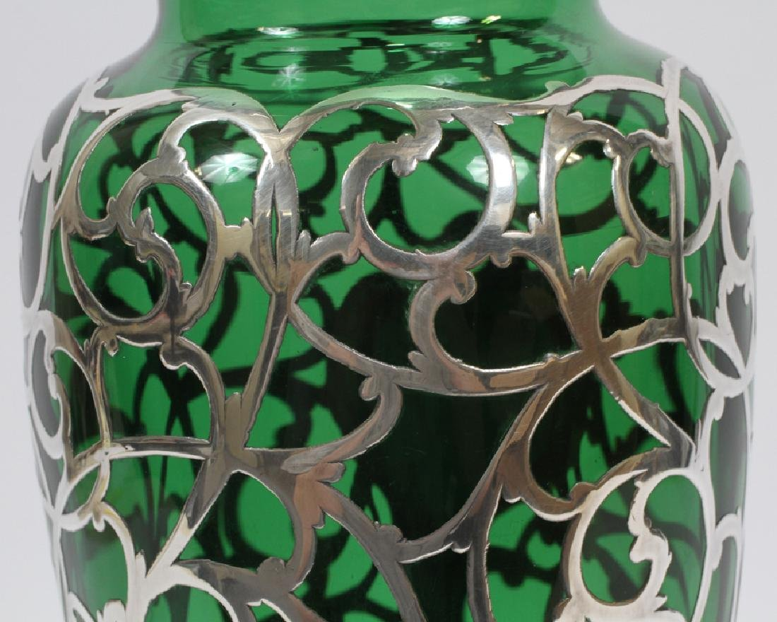 GREEN GLASS WITH STERLING OVERLAY VASE, C. 1900 - 4