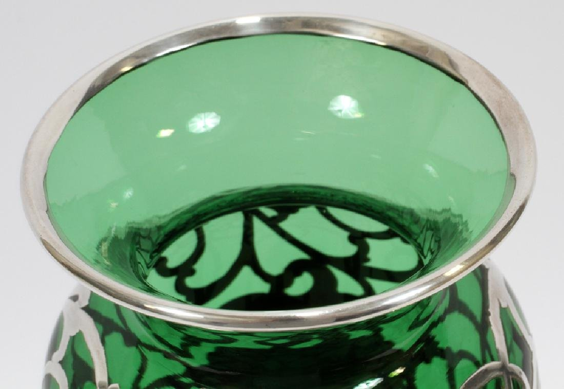 GREEN GLASS WITH STERLING OVERLAY VASE, C. 1900 - 5