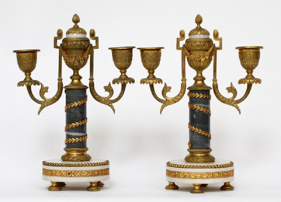 FRENCH BRONZE & MARBLE CANDELABRAS