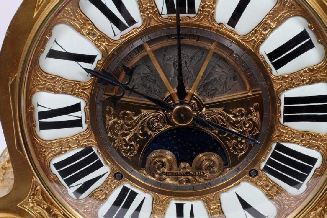 DENIERE A PARIS GILT BRONZE MANTLE CLOCK - 3
